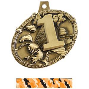 GOLD MEDAL/CAMO ORANGE NECK RIBBON
