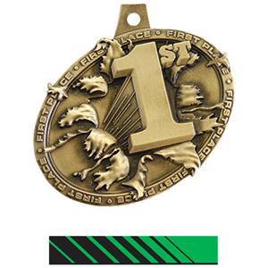 GOLD MEDAL/PHOENIX GREEN NECK RIBBON
